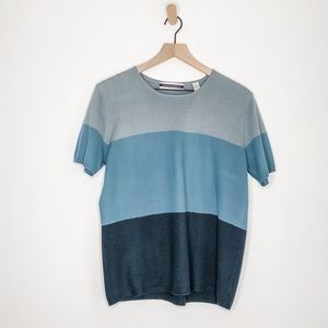 Amanda Smith Colorblock Knit Top Blue